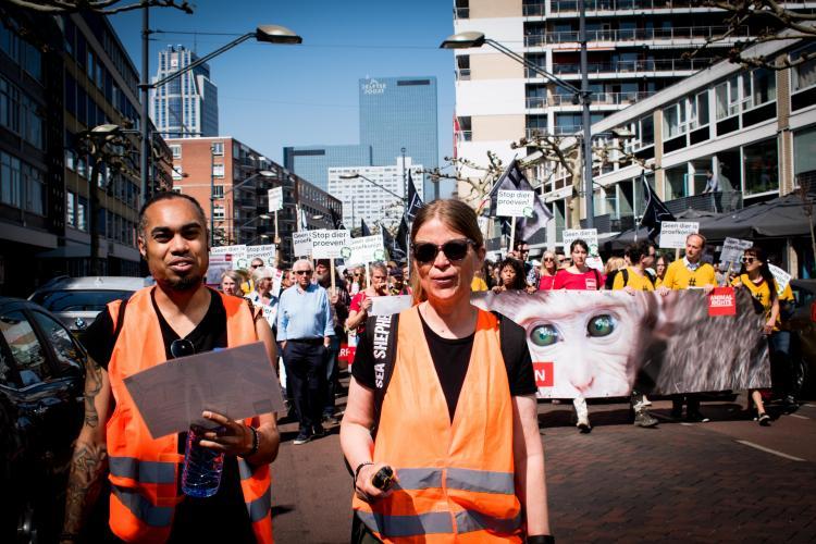 Stewards begeleiden de mars