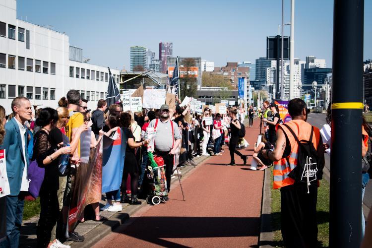 Protest bij het Erasmus MC