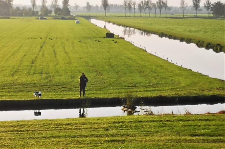 Aan de andere kant van de dijk ligt een beschermd natuurgebied.