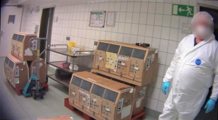Apen in transportboxen in het lab.  Fotocredit: Soko Tierschutz/Cruelty Free International