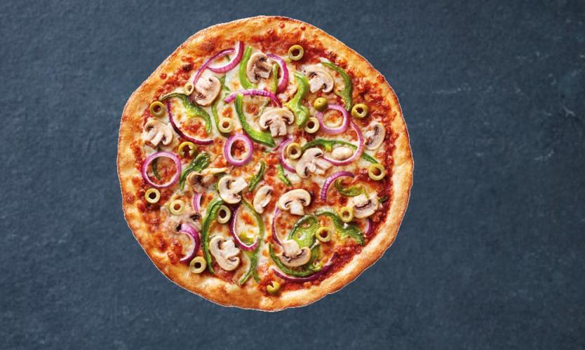 Een vegan pizza van New York Pizza.